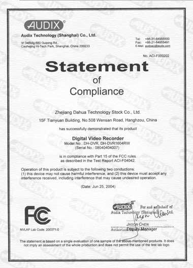 Dahua FCC сертификат